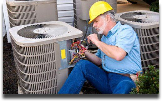 Man working on split ac systems