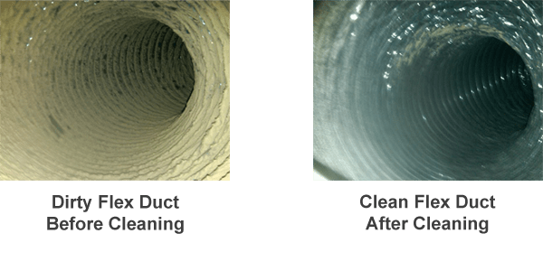 Dirty clogged air duct in comparison to clean air duct