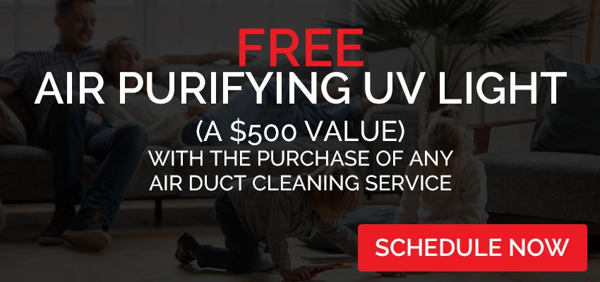Free Air Purifying UV Light with the purchase of any Air Duct Cleaning service