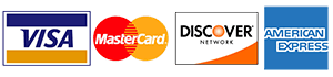We Accept Visa, Master Card, Discover Card & American Express