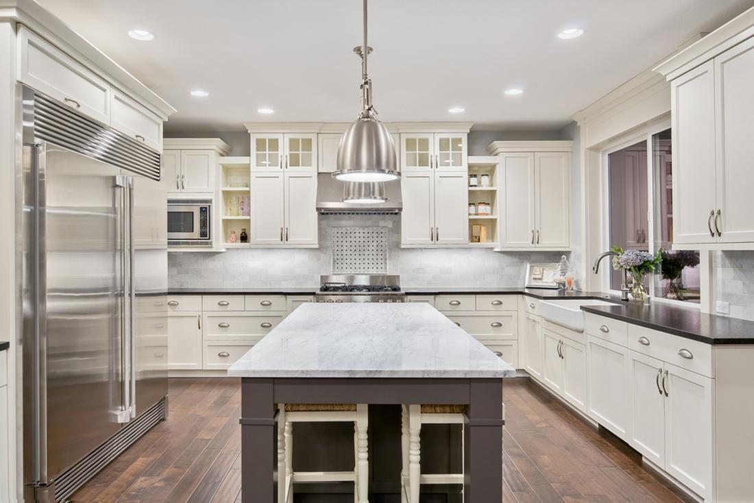 Modern well lit kitchen with LED lighting