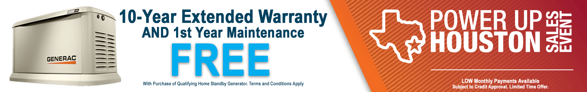 10 year extended warranty and 1st year maintenance free for generator sales event