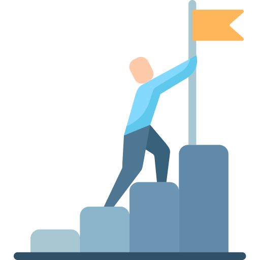 man growing in success with a flag