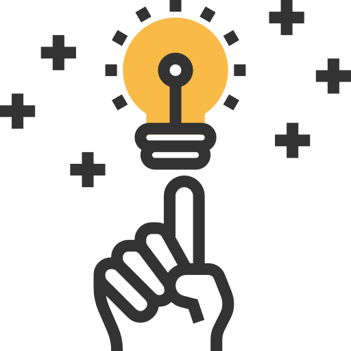 An electricians hand pointing to a light bulb